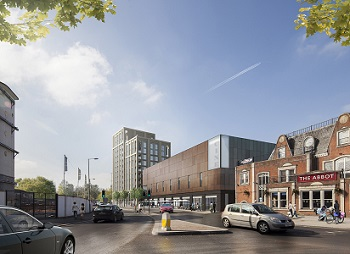 CGI image of the proposed cinema, restaurants and shops complex planned for Marketfield Way, Redhill