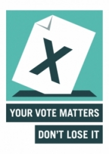 Electoral commission your vote matters, don't lose it logo (portrait)