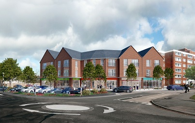 Iron horse site - artist impression of new shops and flats