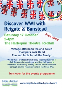 Discover WWI with Reigate & Banstead promotional event flyer