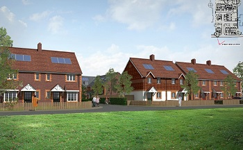 Artist impression street visual of the new homes at Court Lodge, Horley