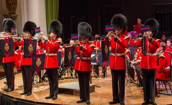 The Band of the Grenadier Guards on stage